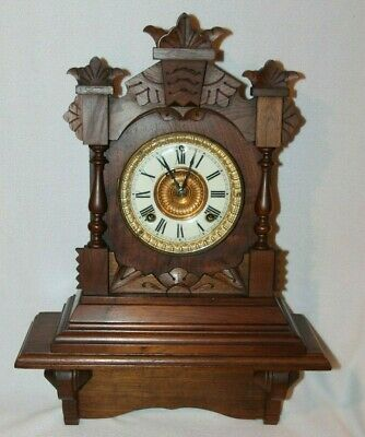 Ansonia Antique Clock Patented 1882 Ansonia Clock Co. New York with Shelf