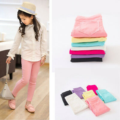 Toddler Infant Baby Girls Solid Skinny Pencil Kids Stretchy Leggings Pants