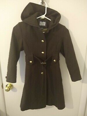 Rothschild Girls' Brown Hooded Wool Coat with Gold Buttons and Belt Size 7