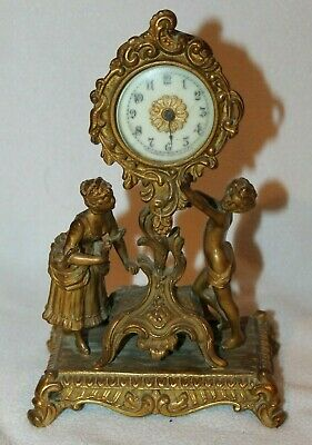 Antique 1894 Waterbury CHERUB Clock Victorian Art Nouveau Mantel Shelf