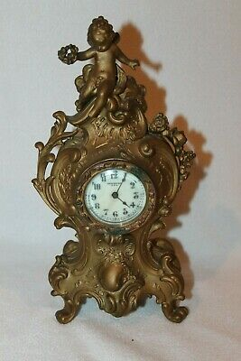 ANTIQUE NEW HAVEN BRONZE CLOCK WITH  CHERUB FIGURAL ART Nouveau