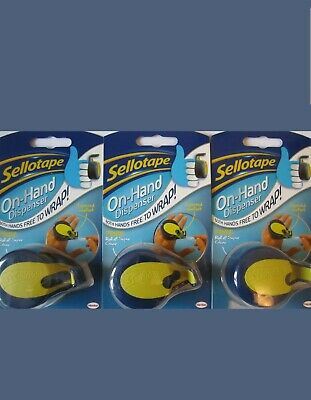 Sellotape On Hand Dispenser x 3 With Clear Tape Freepost