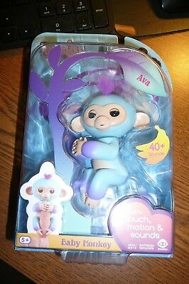 New  Wowwee Fingerlings Ava Baby Monkey Two Tone With  Purple Hair