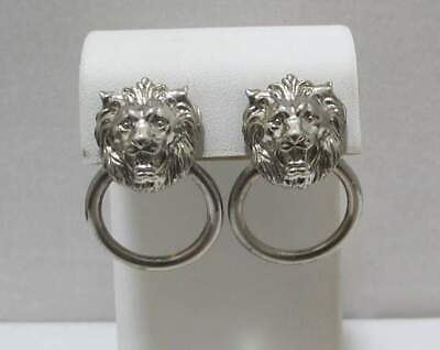 Vintage LION'S HEAD Gargoyle Door Knocker Silver Tone Adjustable Clip Earrings