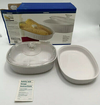 Corning Ware French White 3-Piece Set Oval Casserole 1.5 Qt 2.5 Qt