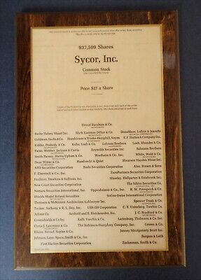 Vintage 1976 Sycor Computer Deal Tombstone Plaque Lehman Brothers Wall Street