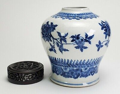 ANTIQUE CHINESE BLUE & WHITE PORCELAIN JAR w/ FRUITING BRANCH DECORATION