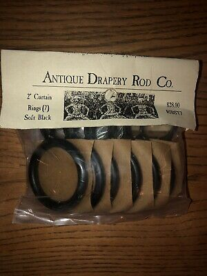 "Antique Drapery Rod Co Black Iron 2"" Curtain Rings (7) $28"