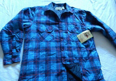 Insulated Lined Blue Black Plaid Quilted Flannel Shirt - Large Mens New w Tags