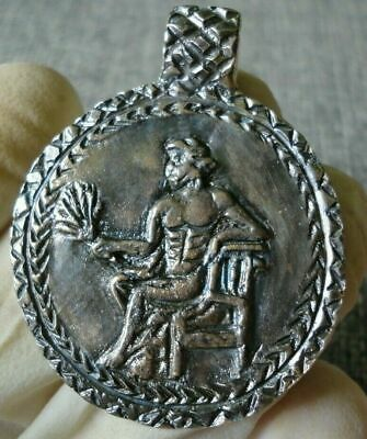 Rare Ancient Roman Military Silver Amulet Depiction Legionary Apollo Circa 40 Bc
