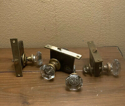 Antique Door Knobs Octagon Crystal & Brass w Penn Mortise 6 Point Crystal Lot