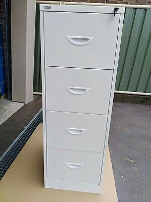 4 drawer filing cabinet. Endurance brand, white, as new condition, w/key