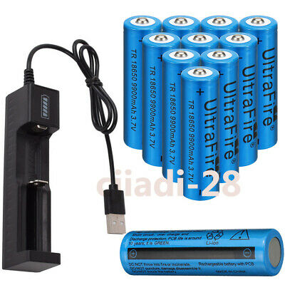 4X UltraFire 18650 9900mAh 3.7v Li-ion Rechargeable Batteries +Battery Charger.