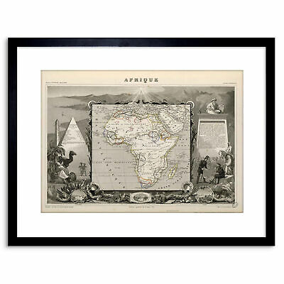 POSTER PRINT GIANT MAP AFRICA CONTINENT GEOMETRIC SHAPES BLUE COMPASS PAMP276