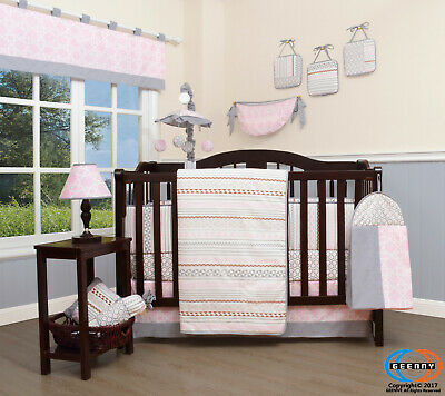 13PCS Pink Grey Bohemia Baby Nursery Crib Bedding Sets  Holiday Special