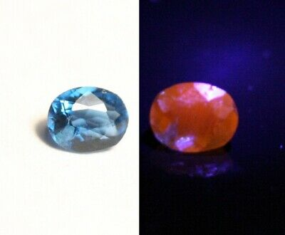 0.09ct Fluorescent Afghanite - Rare Electric Blue Faceted Gem
