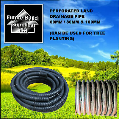 "2"" 60mm x 25m  3""80mm x 25m & 4"" 100mm x 25m Perforated Land Drain Drainage Pipe"