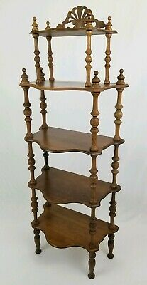 Antique Art Nouveau Curio Display Shelf Etagere Spindle Leg 5 Tier Victorian