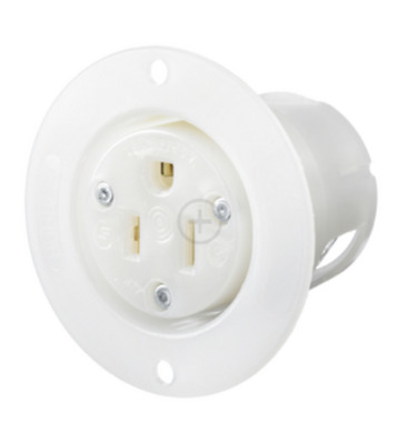 Hubbell HBL5279C 15a 125v Straight Blade Flanged receptacle 2 Pole 3