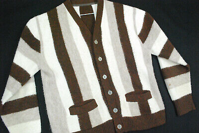 Vintage 70s Wide Panel Striped Cardigan Sweater Fuzzy SOFT Mens M Grunge Cobain