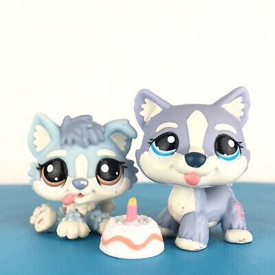 Authentic Littlest Petshop Lot 1683 + 1684 Husky Dog Baby Puppy and Mom LPS