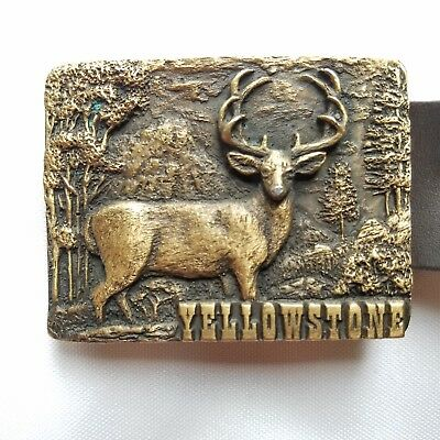 Vintage Yellowstone Buckle with Belt Stag Deer Buck National Park Spec Cast USA