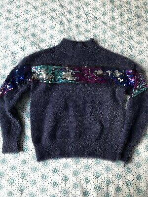 Primark girls Sequins jumper in fluffy yarn 9-10years old in good condition