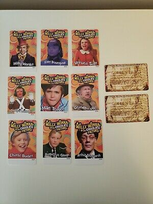 NEW Willy Wonka Coin Pusher Arcade Full 9 Card Set & 2 Golden Tickets
