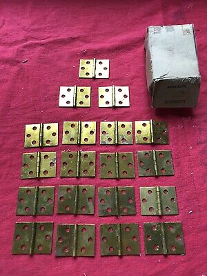 "LOT OF 19 NOS VINTAGE SOLID BRASS BUTT HINGES 1 1/2"" X 2"" BRAINERD USA 1930s 40s"