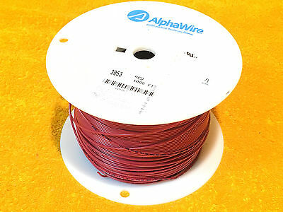 1000' Spool Alpha Wire Awm 3053  Red #20 Awg Hook Up Lead Wire Alphawire