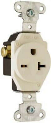 Pass & Seymour #5851LACC8 20A Almond Heavy Duty Single Outlet,No 5851LACC8