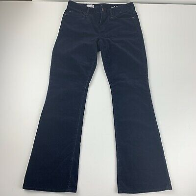 Gap Womens 28 Short Black Corduroy Pants Perfect Boot Navy Blue Mid Rise