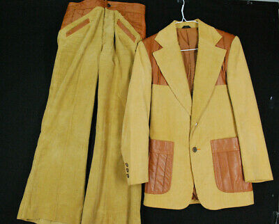 Vintage National Shirt Shops Corduroy Suit Jacket Pants Leather Bell Bottom Mens