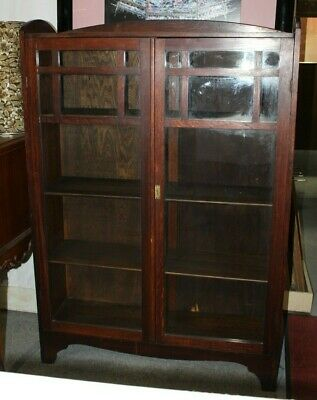 Arts & Crafts Mission Style, Two Door, Oak Bookcase with Three Shelves