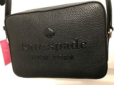 Kate Spade Sienne Logo Camera Crossbody Bag in Black Pebbled Leather Msrp 249