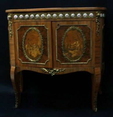 Inlaid French Style Chest With Porcelain Mounts