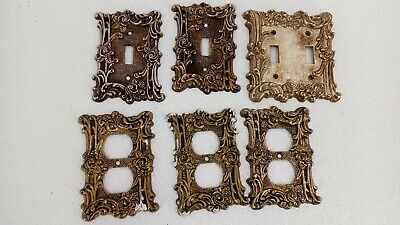 Lot of 6 Vintage switchplate And Outlet Plates 1967 Amer-tack & HD Rose Pattern