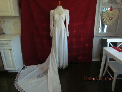Unworn White Vtg Wedding Gown Satin & Lace Sequins Pearls  With Long Train Sz  6