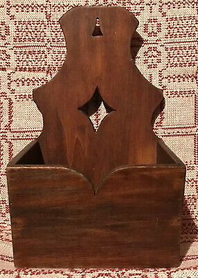 Antique Primitive Wood Diamond Hanging Wall Mount Candle Holder Box AAFA