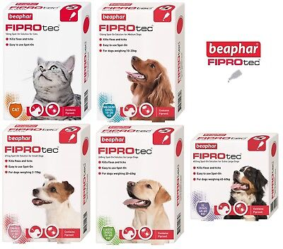 Neuf Beaphar Fiprotec Puces & Tique Spot On Solution Petit,M,Grand Chien & Chats