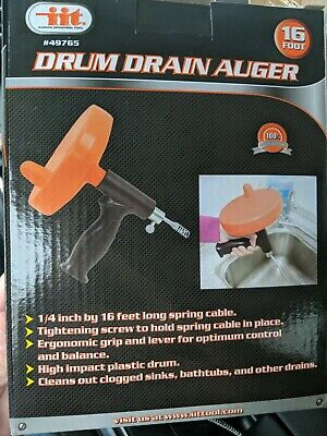 IIT Drum Auger Cleaner Sink Shower Tub Drain Tool 1/4 Inch x 16 ft Plastic
