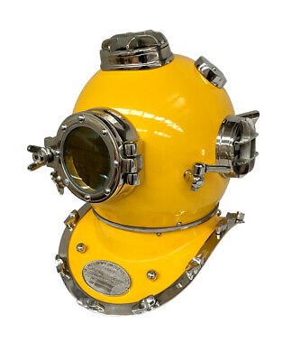 Scuba Diver Helmet- Yellow (Antique Style)