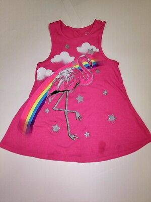 FADED GLORY Girls Kids sz 6-6x Pink Tank Top with a Pink Flamingo on the front