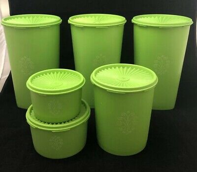 Set of 6 Vintage Green Tupperware Canisters. Great Large Set.