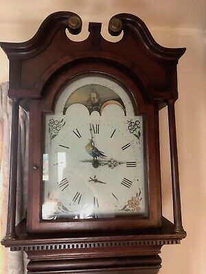 Oak Antique Longcase Grandfather Clock- Rotating Moon Dial-Lovely condition