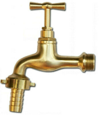 """Outdoor Garden bib Tap Polished Brass 1/2""""BSPM inlet with 1/2"""" hose tail outlet"""