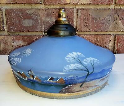 Art Deco Blue Frosted Hand Painted Light shade