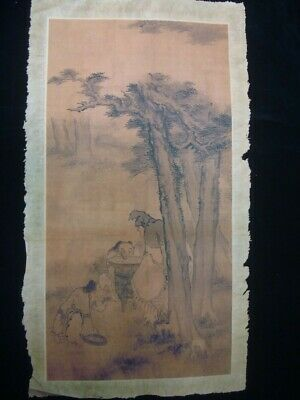 Old Large Chinese Paper Painting Landscape and Figures