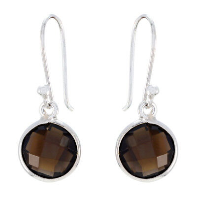 excellent Smoky Quartz 925 Sterling Silver Brown Earring Natural jewelry US gift