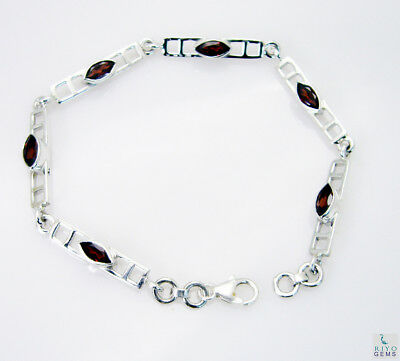 grand Garnet 925 Solid Sterling Silver Red Bracelet Natural general US gift